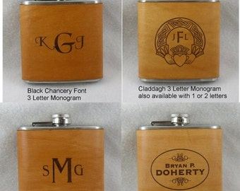 20% OFF SALE Flask with Hand Dyed Engraved Leather Wrap - set of 2