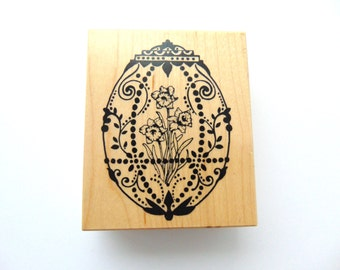 PSX G1342 1995 Easter Faberge Egg With Daffodil Flowers Wood Mounted Rubber Stamp