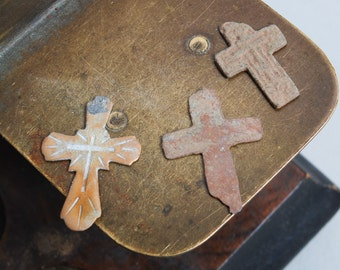 Set of 3 Antique parts of  Christian Cross pendant. Orthodox church