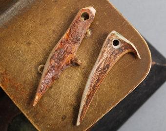 Set of 2 Genuine wild deer horns with hole, pendants