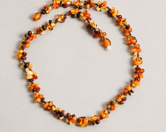 NEW Natural Baltic amber necklace, genuine small Baltic amber beaded necklace. 17 inch
