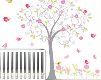 Wall Decal Nursery Wall Decals Tree Decal with Flowers, Birds and Butterflies-e13