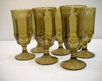 Brown Glasses Vintage Set Of 6 Smoky Brown 6 Sided Goblets Wine Parfait Glasses 70's