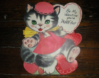 Vintage 1950s 1959 Oversized Standing Felted Kitten Valentine Day Card Scrapbooking Crafting
