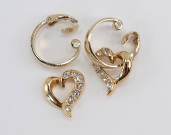 Vintage Signed Avon Goldtone Gold Tone Convertible Hoop Heart Clear Pave Rhinestone Clip On Romantic Glossy Dangle Earrings