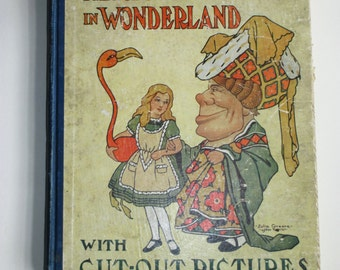 On Sale - Antique Alice's Adventures in Wonderland Cut-Out Book 1917