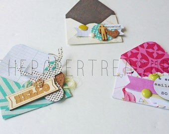 Handmade Scrapbooking embellishments, mini envelopes, snail mail flipbook, project life embellishments, brag book, scrapbook layout,