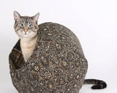 The Cat Ball Cat Bed a Bohemian Pet Bed in Brown and Black Batik