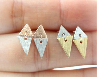 Two-Tone Triangles Earrings / geometric, textured triangles studs