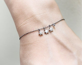Three Stars Bracelet in oxidized 925 sterling silver / tri stars bracelet