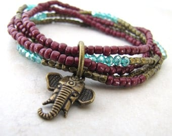Ganesh Bracelet, Elephant Bracelet, Beaded Bracelet, Bohemian Bracelete, Boho, Spiritual, Yoga, Adjustable, Stretch, Hindu, Hindi, Indian