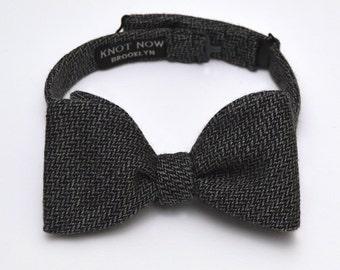 Men's Bow Tie - Black and Grey Wool Herringbone