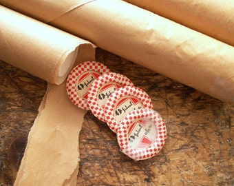 Entire Roll of Vintage Waxed Paper Red and White Milk Bottle Caps - New Old Stock - Great for Projects, Mixed Media!