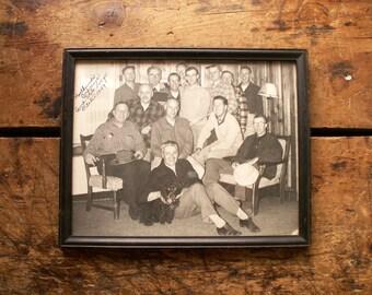 Vintage Framed Group Photo - Men's Northwoods Conference, Camp Milo Lodge, 1949