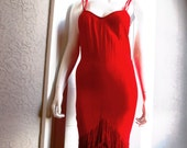 70's Red Fringe Flapper Style Disco Dress small