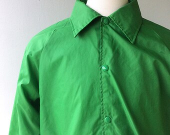 1970s Men's Green Lined WINDBREAKER // Xl