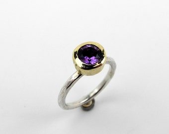 Juno Ring - amethyst in 9ct gold with silver shank