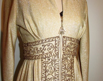 Vintage Moroccan Caftan Gold Lame with Bronze Embroidery