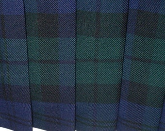 Vintage Mac Elton Pleat Skirt Wool Plaid Blue + Green Size 14 Blue Lining