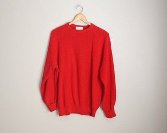 Vintage 70s 80s Red Cotton Classic USA Made Lord Jeff Sweater // mens xlarge
