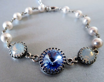 Blue crystal pearl bracelet, wire-wrapped white pearls, set rhinestones light blue and white, antiqued silver, something blue pearl jewelry