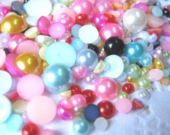 500 pcs Mixed ABS Faux Pearl Half Round Beads Cabochons Flat back 16colors