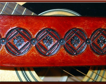 NATIVE SUN CIRCLE Version 2 Design • A Beautifully Hand Tooled, Hand Crafted Leather Guitar Strap