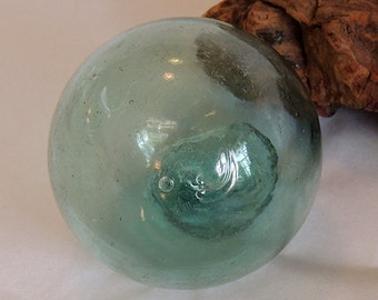 Vintage Japanese Glass Fishing Float.. Small 2.5 Inch.. Makers Mark & Bubbles (#11)
