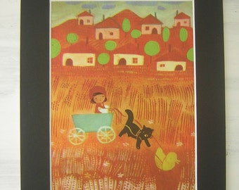 Vintage Mounted & Backed Illustration No2 Boy In Hay Field
