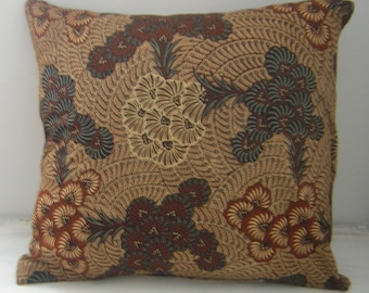 Vintage Fabric Shades of Brown Patterned Cushion Cover 18 x18 inches