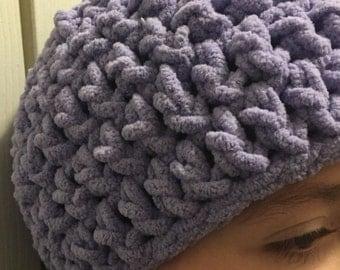 Super Soft Crochet Lilac Kids Girls Beanie Hat
