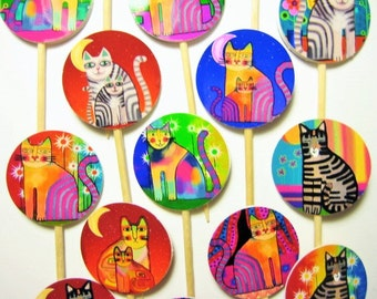 15 Funky Cat Party Picks - Cupcake Toppers - Toothpicks - Food Picks -  FP602