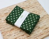 Large Cloth Napkins - Set of 4 - (N2448) - Green Stars Modern Reusable Fabric Napkins