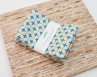 Large ORGANIC Cloth Napkins - Set of 4 (N3171) - Blue Yellow Mustard Jacks Modern Reusable Fabric Napkins