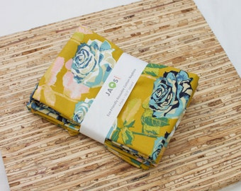 Large Cloth Napkins - Set of 4 - (N4054) - Mustard Rose Flower Modern Reusable Fabric Napkins