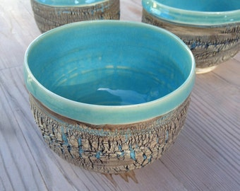Tea bowl - Kate's Series #1 of 3, Chawan, Matcha, Turquoise, Blue, Aqua, Stoneware, Ceramic, dcollinspottery, ceramic, pottery