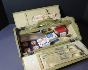 Antique First Aid Chest Kit Wood First Aid Kit Vintage Primitive Box Chest Kit