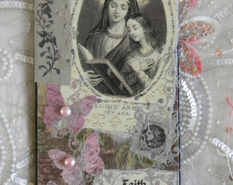 Faith is Our Strength and Our Song Collage Decoupage Decorative Plaque Accent Wall Hanging