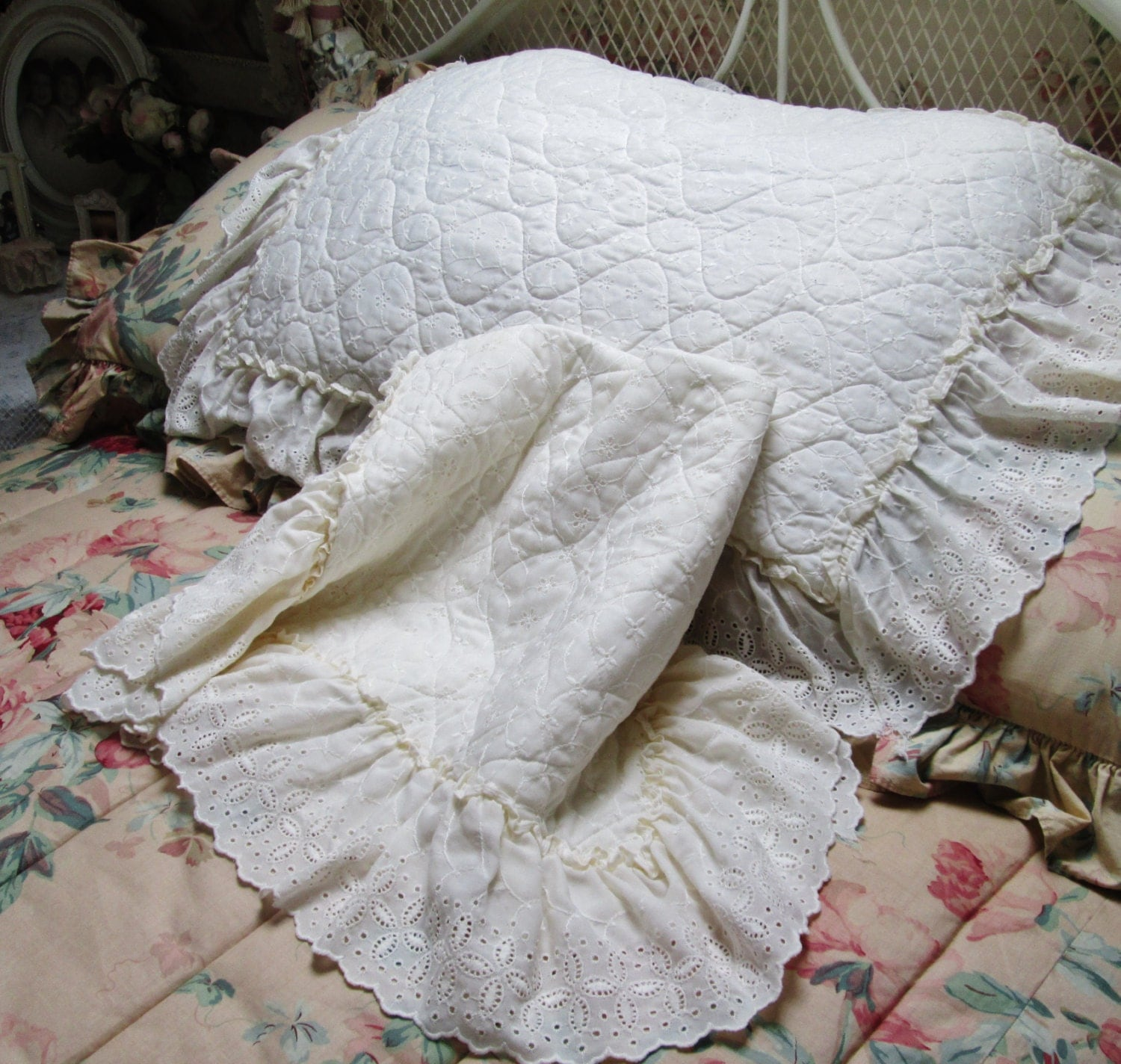 eyelet ruffled pillow shams shabby chic bedding by TheGirlyCottage