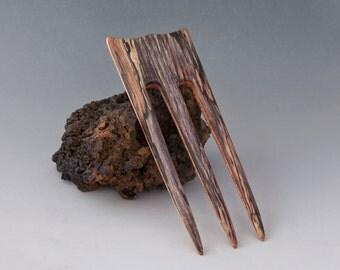 SPALTED TAMARIND & BIRDSEYE Maple Hair Fork - 3 Prong Hairfork