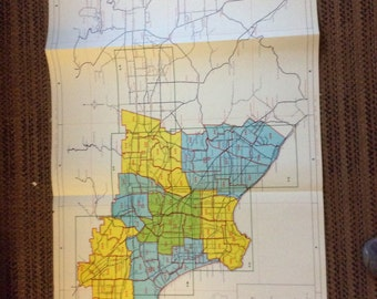 Industrial Decor Map 1980's Los Angeles and vicinity California state vintage