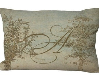 Subtle and Romantic Tree Monogram Lumbar Oblong in choice of 18x12 20x13 24x16 Pillow Cover