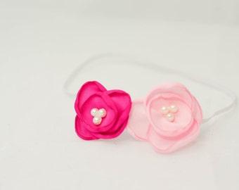 BABY HEADBAND, newborn headband, Light and Dark Pink Satin Poppy Flower Headband--Newborn-6months Baby Photography Prop