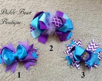 Purple Turquoise Headband, Hairbow, Baby Headband, Infant Headband, Girls Headband, Hair Bow, Birthday Headband, Purple Head Band