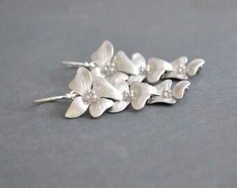 Cascading Silver Flower Earrings on Argentium Sterling Silver Hoops, Mini Silver Cherry Blossom Earrings