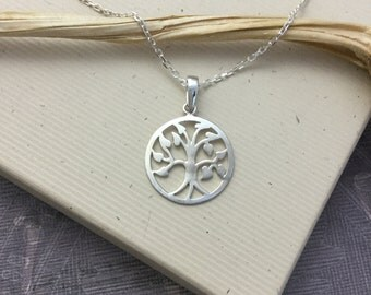 Silver tree of life pendant necklace, sterling silver tree of life necklace, minimalist jewelry, simple jewelry N263