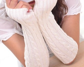 White knit arm warmers fingerless gloves