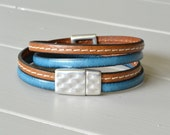 Western Leather Bracelet, Turquoise Brown Leather, Multi Strand Bracelet, Leather Wrist Strap