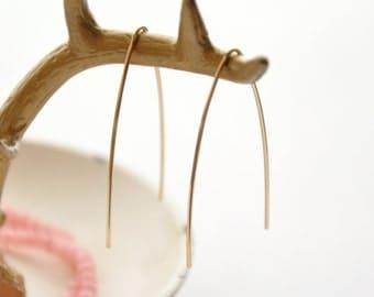 """Gold V Earrings, Gold Arc Earrings, Gold Wire Earrings, Minimal Jewelry, Modern Earrings, Gold Filled Earrings, 1 1/2"""""""