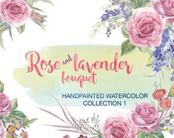 Rose lavender watercolor clipart floral bouquets floral clipart digital watercolor graphic